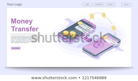 Pénzátutalás izometrikus 3d illusztráció hitelkártya bankjegyek dollár Stock fotó © RAStudio