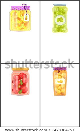 Préservé alimentaire affiches ananas olives anneaux Photo stock © robuart