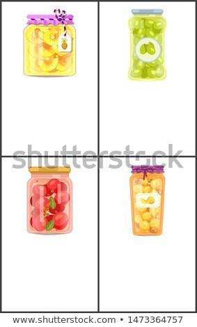 Conservado comida pôsteres ananás azeitonas anéis Foto stock © robuart