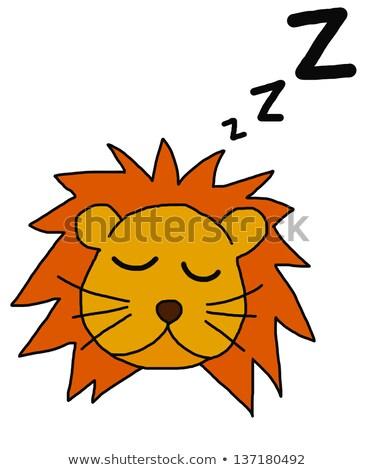 Cartoon Lion Cub Napping Stock photo © cthoman