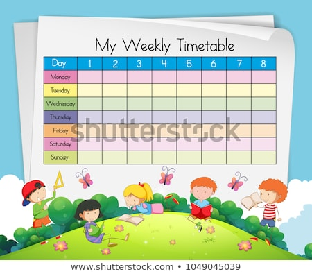 Weekly timetable template with kids playing in park Stock photo © colematt