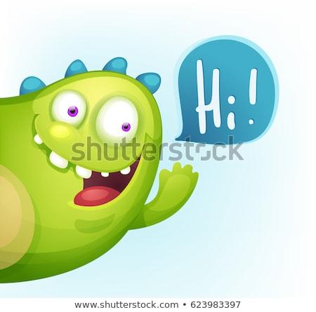 funny cute monster cartoon character waving stock photo © hittoon