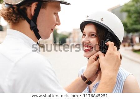 Gelukkig man helm vriendin buitenshuis Stockfoto © deandrobot