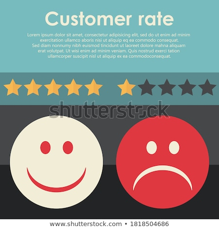 hand rating on customer service two smileys happy and sad one flat vector illustration stock photo © makyzz