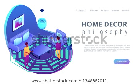 Stok fotoğraf: Feng shui interior isometric 3D landing page.