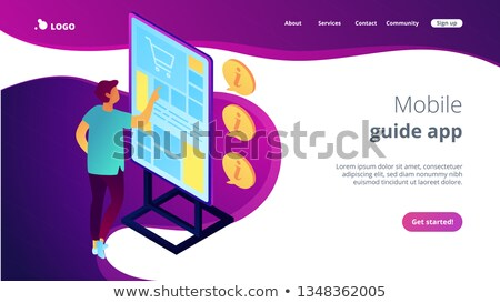 Stockfoto: Digital guide isometric 3D landing page.