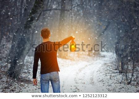 男 徒歩 嵐 ランタン 手 ストックフォト © ra2studio