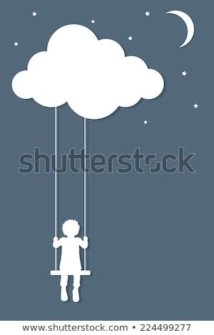 мальчика Swing ночь иллюстрация небе ребенка Сток-фото © bluering