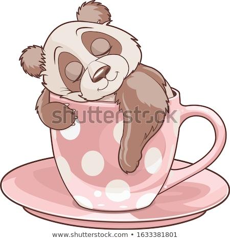 Panda dormire tazza da tè illustrazione arte nero Foto d'archivio © Dazdraperma