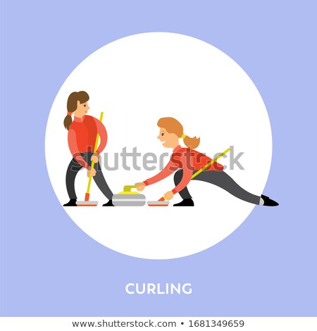 Curling Sport, Players Slide Stones Towards Target Stock photo © robuart