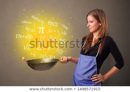 Koken nummers wok persoon wiskundig glimlach Stockfoto © ra2studio