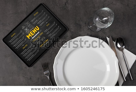 vajilla · línea · menú · tableta · vacío · placa - foto stock © ra2studio