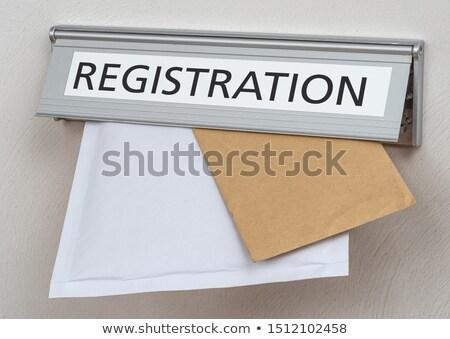 Label registratie kantoor hand teken mail Stockfoto © Zerbor