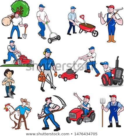 Mezőgazdasági munkás kabala rajz szett gyűjtemény Stock fotó © patrimonio
