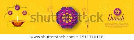 decorative diya design yellow diwali sale banner  Stock photo © SArts