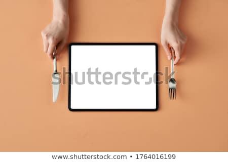 Tafelgerei tablet stijlvol wijn home achtergrond Stockfoto © ra2studio