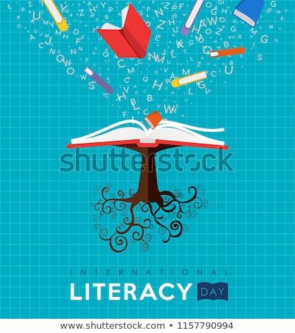 Műveltség nap kártya nyitott könyv ábécé nemzetközi Stock fotó © cienpies