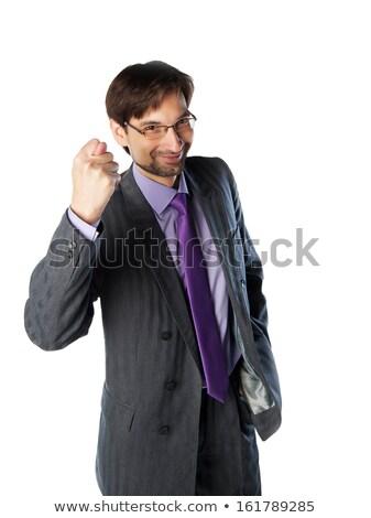 Férfiak kéz előadás füge fehér háttér Stock fotó © ShustrikS