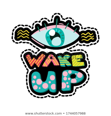 Wake up lettering stitched frame illustration Stock photo © barsrsind