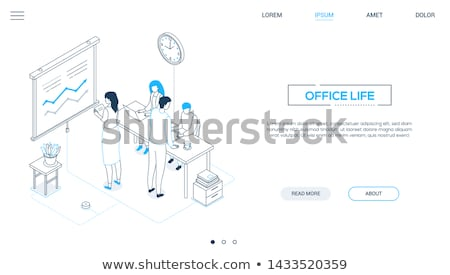 Office life - colorful isometric vector web banner Stock photo © Decorwithme