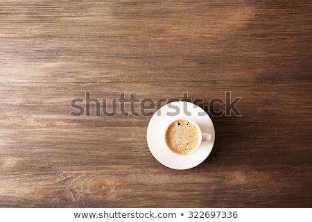 Csésze forró cappucchino büfé kávé fa asztal Stock fotó © Anneleven