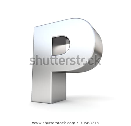 Brushed metal font Letter P 3D Stock photo © djmilic