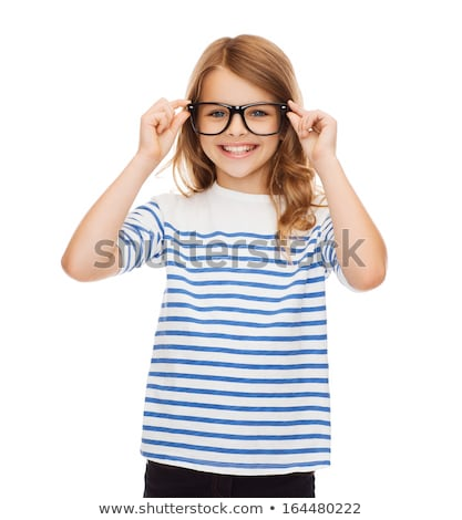Cute elementary school friends in casualwear and eyeglasses using digital tablet Stock photo © pressmaster