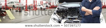 Mechaniker Mann Schraubenschlüssel Auto Workshop Stock foto © dolgachov