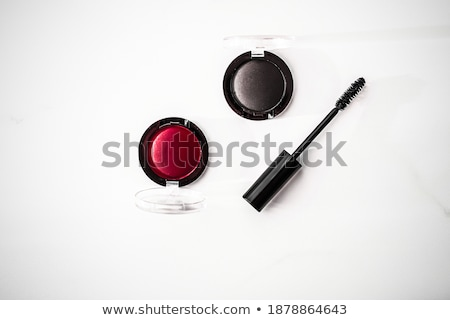 Eyeshadows, black liner and mascara on marble background, eye sh Stock photo © Anneleven