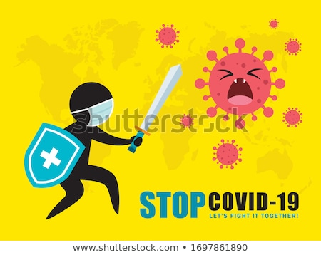 covid-19 coronavirus immunization shield with world map Stock photo © SArts