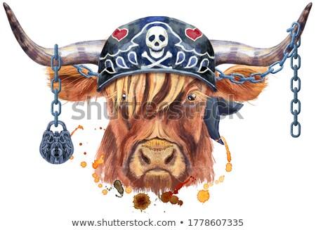 Aquarela ilustração marrom touro gráficos animal Foto stock © Natalia_1947