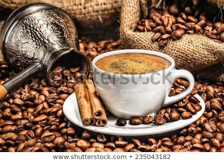 cobre · copo · café · branco · escuro · café · da · manhã - foto stock © mayboro