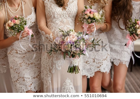 Bridesmaid wedding dress girl with flower bouquet. Asian woman beauty in studio. Maid of honor or br Stock photo © Maridav