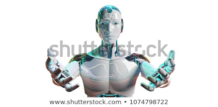 Metallic cyborg isolated on white Stock photo © oneo