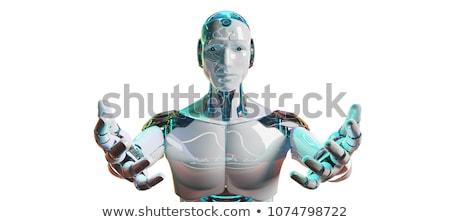 Metallic Cyborg Isolated On White Stock photo © sdecoret