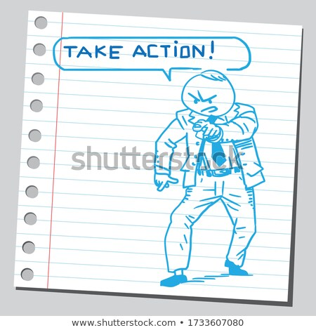 Paper Man with action Bubble Stock photo © kbuntu