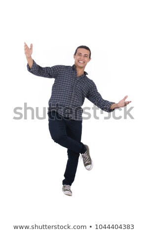 Happy Casual Man Standing on One Leg Stock photo © rognar
