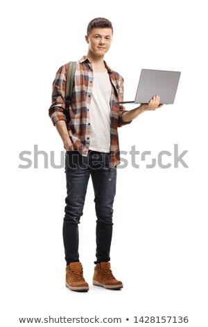 adam · dizüstü · bilgisayar · gülen · portre · başarı - stok fotoğraf © williv