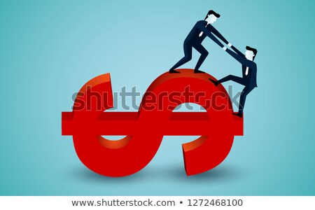 3D business men climbing a graph with one confident business man Stock photo © dacasdo