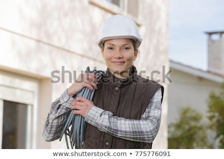 Stock photo: portrait of a female electrician