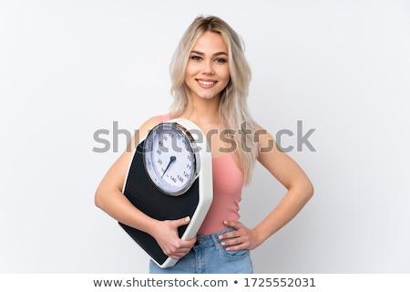 loiro · menina · escala · feliz · mulher · fitness - foto stock © imarin