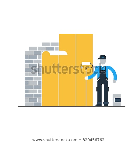 Decorator preparing to wallpaper a room Stock photo © photography33