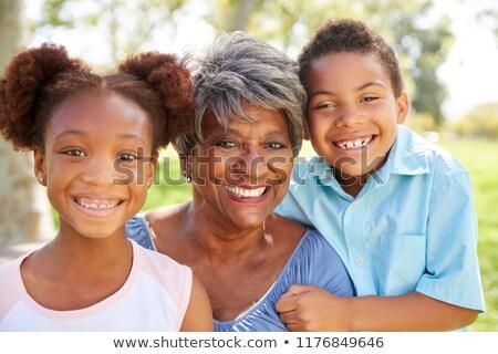 Portré nagymama unoka nő család otthon Stock fotó © photography33
