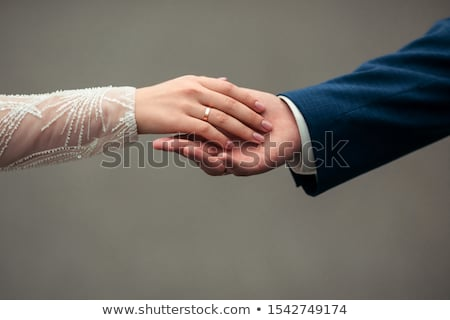man · kouseband · zwarte · vrouw · kaukasisch · onlangs · getrouwd - stockfoto © piedmontphoto