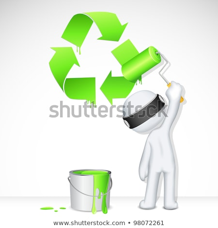 Painter With Recycling Symbol Stockfoto © Vectomart
