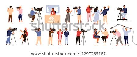 Férfi hírek stúdió kék űr kép Stock fotó © elly_l