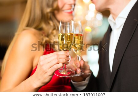 couple · verres · champagne · restaurant · vacances · souriant - photo stock © photography33