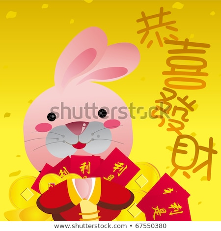Szczęśliwy chiński nowy rok 2011 królik złote monety złota Zdjęcia stock © davidgn
