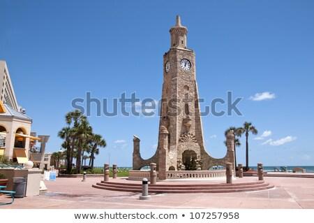 palm · strand · waarde · klok · toren · Florida - stockfoto © benkrut