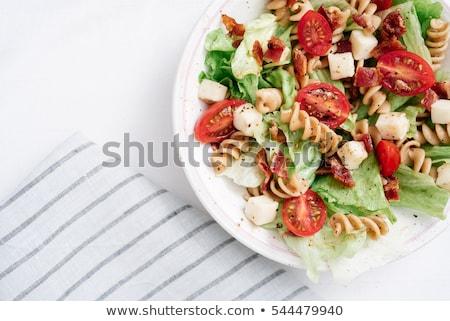Pasta salade verse groenten tomaat komkommer Stockfoto © ildi